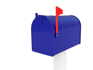 A standard blue mailbox with flag isolated over white