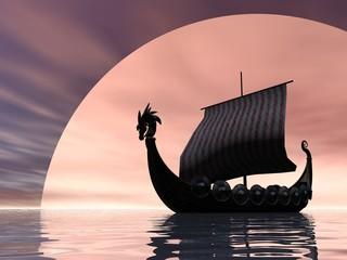 Viking Ship at Sea