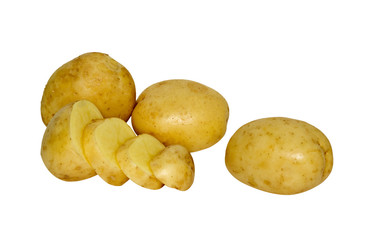 Potatoes and  section isolated on white background