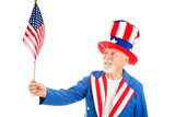Uncle Sam Holds US Flag poster