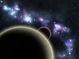 Digital created starfield with cosmic Nebula and planet poster