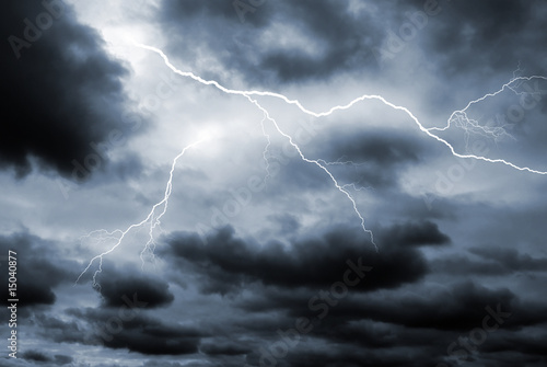 Leinwanddruck Bild Double lightening strike