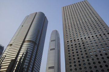 China, Hong Kong, low angle view of skyscrapers