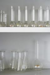 Laboratory flasks on shelves
