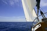 Fototapety Sailboat sailing blue sea on sunny summer day