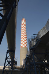 Oil fired power station, main flue taking waste gases to chimney