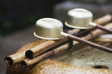 Japan, Nara, Kofuku-ji Temple, Row of ladles, close-up