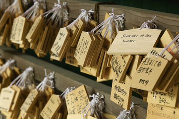Japan, Nara, Kasuga Shrine, Small wooden plaques with prayers and wishes Ema