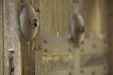 Japan, Himeji Castle, close-up of wooden gate