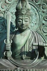Japan, Kyoto, Tenryuji Temple, bronze statue