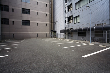 Japan, Osaka, Empty parking lot