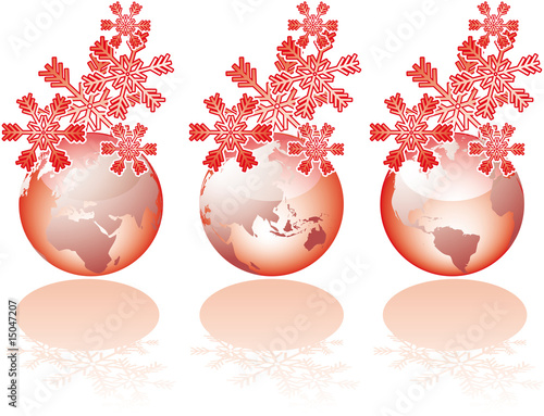 Three globe world glass views with christmas snowflakes