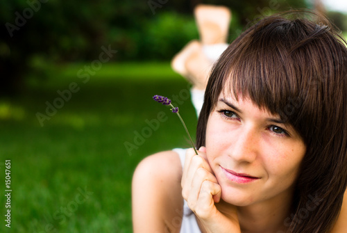 canvas print picture Beautiful young woman looking away