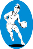 Woman basketball player dribbling the ball