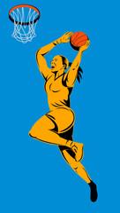 Woman basketball player layup the hoop