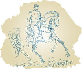 American Union Federal officer riding a horse