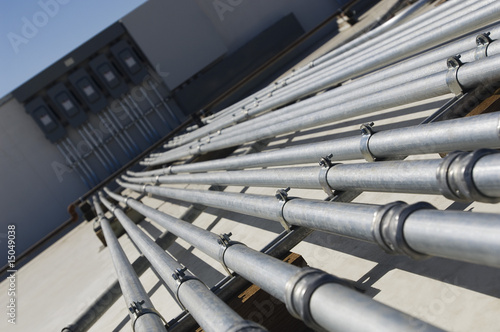 Pipes Leading to Electrical Boxes at Solar Power Plant