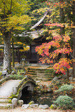 Japan, Takayama, Hokke-ji Temple garden with stone bridge, Autumn
