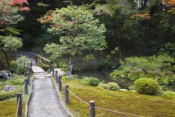 Japan, Kyoto, Tenju-an Temple garden with footpath and bridge