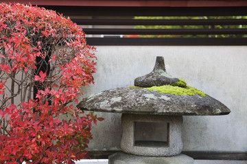 Japan, Takayama, Stone Lantern and bush in Autumn colors