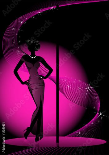 Beautiful silhouette of women dancing a striptease