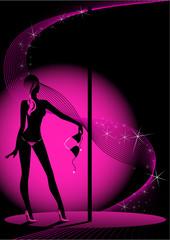 Beautiful silhouette of women dancing a striptease