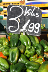 Green peppers, Avila market