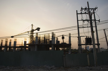 Building Construction Site at Dusk