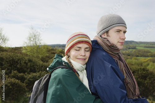 Young Hiking Couple Standing Together