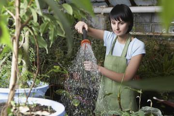 Greenhouse Worker Watering Plants