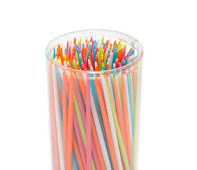 colorful plastic tooth picks