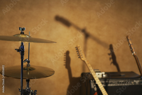 Drum Cymbals and Guitars by Amplifier