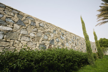 hedge in front of stone wall