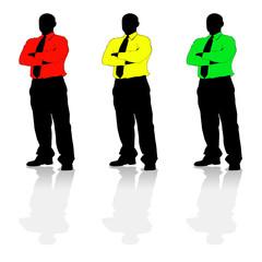 Three colourful businessmen