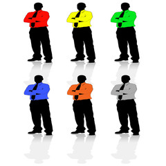 Six colourful businessmen
