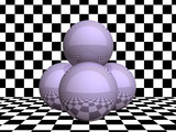 Glass spheres on checkerboard