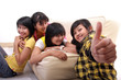 group of young asian on sofa