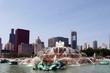 Leinwanddruck Bild - Buckingham Fountain - Chicago skyline