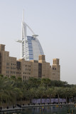 dubai uae world famous burj al arab hotel seen beyond old windtowers