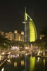dubai uae colourfully lit world famous burj al arab hotel dubai icon