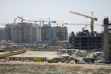 UAE, Dubai, construction project at the Mall of the Emirates on Sheikh Zayed Road