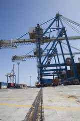 Limassol, Cyprus, Truck loaded with containers leaving seaport