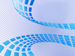 blue abstract cubes on the light netted background