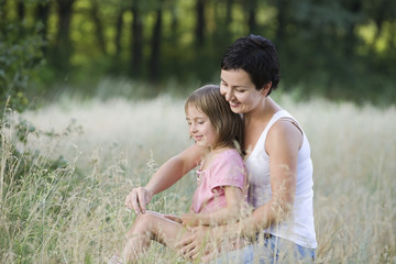 Mother and Daughter in a Field