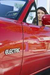 Close up of electric car