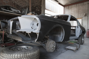 Car parts in garage