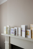 Greeting cards on top of fireplace