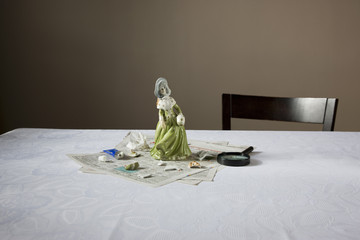 Figurine on table