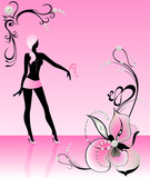 Silhouette of the beautiful harmonous girl poster
