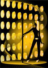 beautiful silhouette of young women dancing a striptease